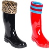 Women's Fox-Fur Mock-Sock Rain Boots