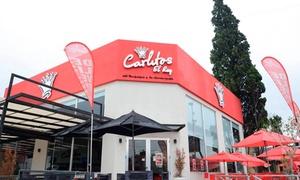 Carlitos El Rey: $265 en vez de $480 por sándwich caliente, hamburguesa o panqueque salado o dulce + bebidas para dos en Carlitos El Rey