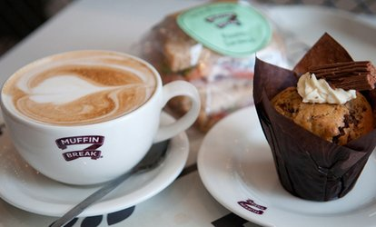 image for Hot Drink with Freshly Baked Muffin or Cake Slice for One or Two at Muffin Break, Seven Locations