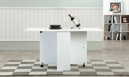 שולחן אוכל מתקפל עם מגירות אחסון, הנפתח לשני הצדדים ומתאים ל-6 סועדים