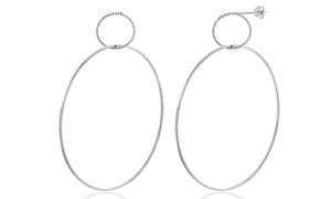Nina & Grace Interlocking Hoop Beaded Design Earrings