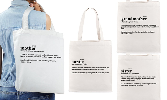 One, Two or Four Mother, Grandmother, Sister or Auntie Tote Bags