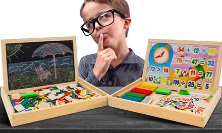Tableau éducatif en bois 3en1 avec puzzle magnétique : maths, heure et dessin