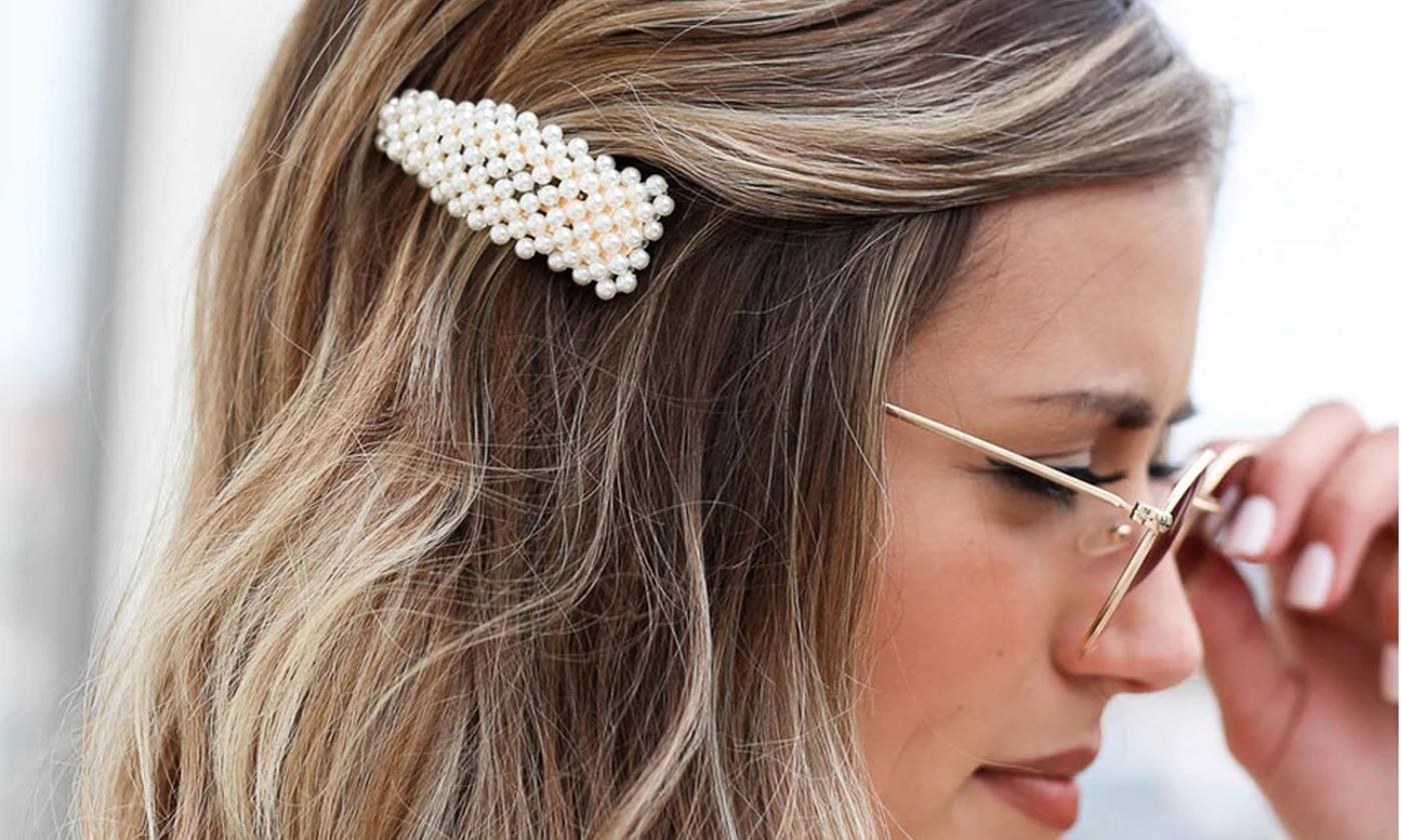 Three, Six or Nine Pearl-Beaded Hair Clips