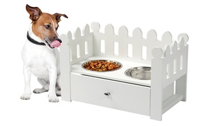 White Wooden Picket Fence Pet Feeder with Stainless Steel Bowls at White Wooden Picket Fence Pet Feeder with Stainless Steel Bowls, plus 9.0% Cash Back from Ebates.