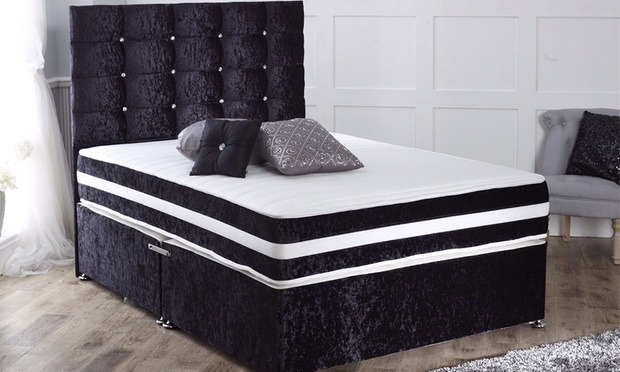 Crushed velvet divan bed groupon goods for Velvet divan bed frame