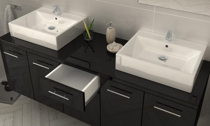 meubles de salle de bain suspendus groupon. Black Bedroom Furniture Sets. Home Design Ideas