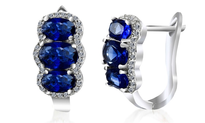 5.22 CTTW Sapphire and Diamond Earrings in 18K White Gold