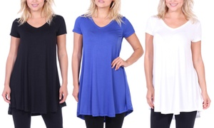 Women's Short-Sleeve Relaxed-Fit V-Neck Tunic Top