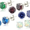 Set of 5 Exotic Colors Cubic Zirconia Stud Earrings