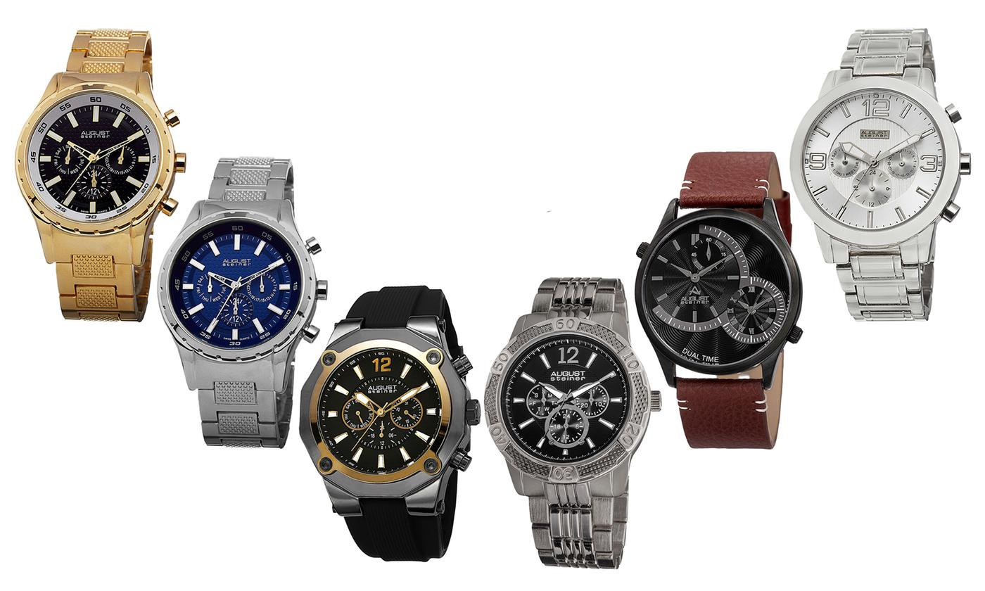 Save 94% on Blowout August Steiner Designer Multi-Function And Chronograph Watches