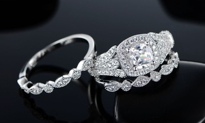 1.85 CTW CZ Cushion Cut Engagement Ring and Bands Set (3-Piece)