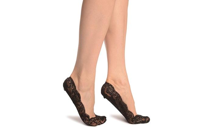 6 Paar Spitzen Füßlinge für Damen in Schwarz und Beige