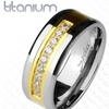 Cubic Zirconia Channel Set Ring in Solid Titanium