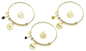 Gemstone Horoscope Constellation Birthstone Bangle in 18K Gold Plating