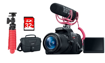 Canon EOS Rebel T5i 18MP DSLR Video Creator Kit with Lens, Rode VideoMic, and 32GB SD Card