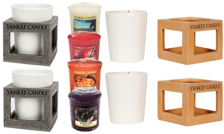 Two Yankee Candle Tealight Holders and Four Votive Candles