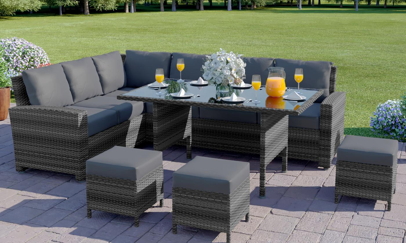 Abreo Nine-Seater PE Rattan Corner Sofa and Dining Set (£579.98)