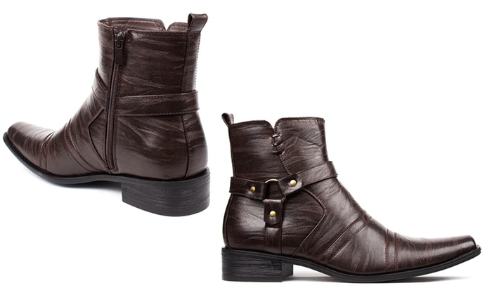 Bonafini Men's Dress Boots with Harness Strap and Side Zipper (Size 9)