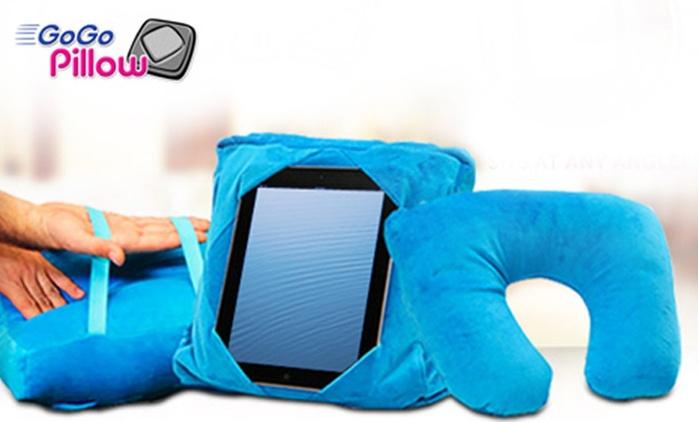 אביזר נוחות הכולל כרית לטאבלט לשימוש נוח על הברכיים, מתקן לתליית הטאבלט על משענת המושב ברכב וכרית צוואר לנסיעות וטיסות
