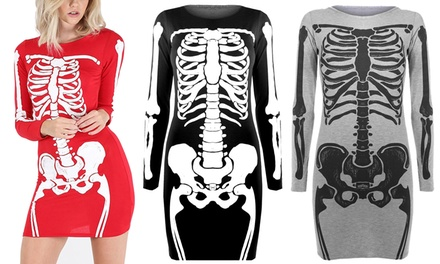 Skeleton Print Bodycon Dress in Choice of Colour and Size