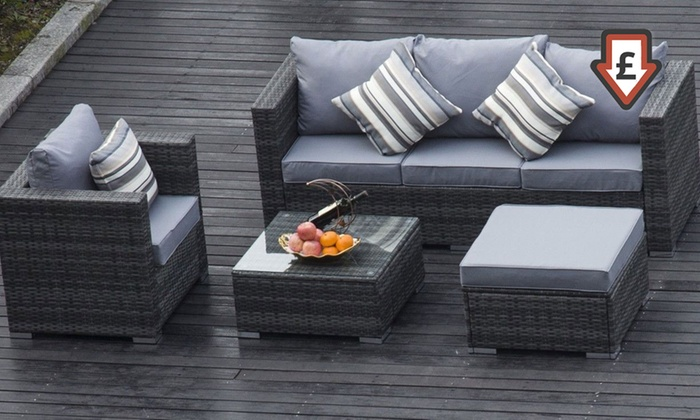 groupon goods global gmbh vancouver five seater rattan garden furniture set with free delivery