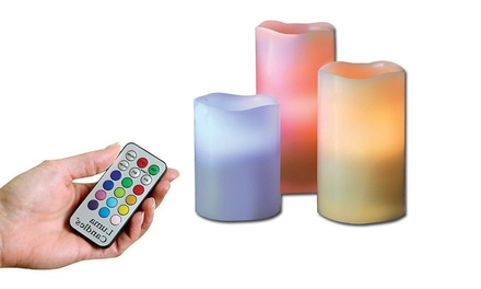 Set of Three Flameless Candles with a Remote Control: One $19 or Two $29