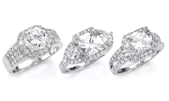 Bagues carres au choix en acier rhodi et ornes de cristaux Swarovski® à 1490€ (79% de rduction)