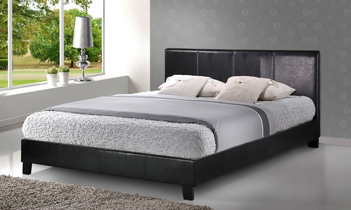 Sicily modern faux leather bed groupon goods for Beds groupon