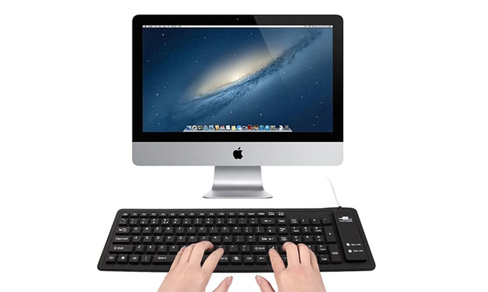 Black Wired or Wireless Silicone Keyboard