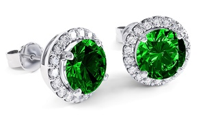 3.00 CTTW Emerald Halo Sterling Silver Studs by Valencia Gems