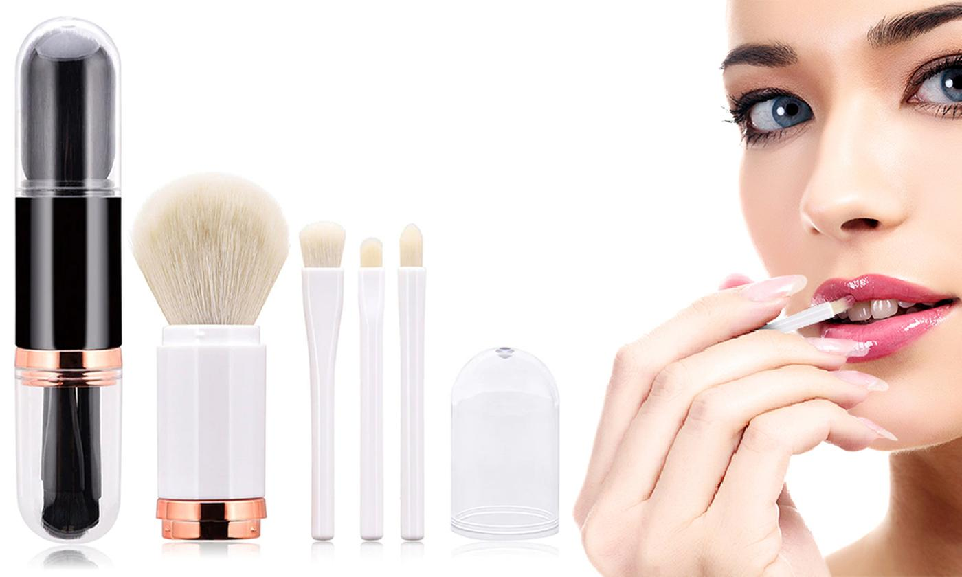 One or Two Sets of Four-in-One Portable Make-Up Brushes