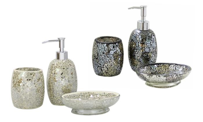 Attirant 3 Pc Mirror Mosaic Bathroom Set ...