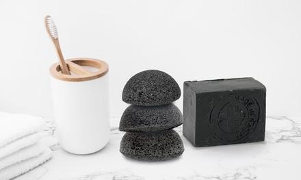 Esponja de konjac y jabón negro carbón activado para la cara y el cuerpo