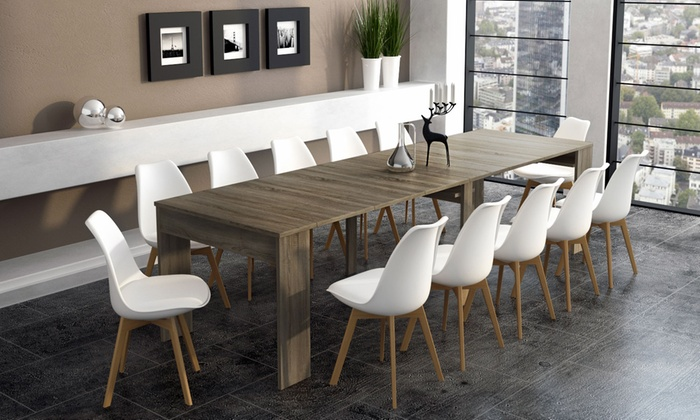 60 off extending dining console table groupon for Table extensible 3m groupon