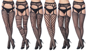 Frenchic Fishnet Suspenders in Regular and Plus Sizes (6-Pack)
