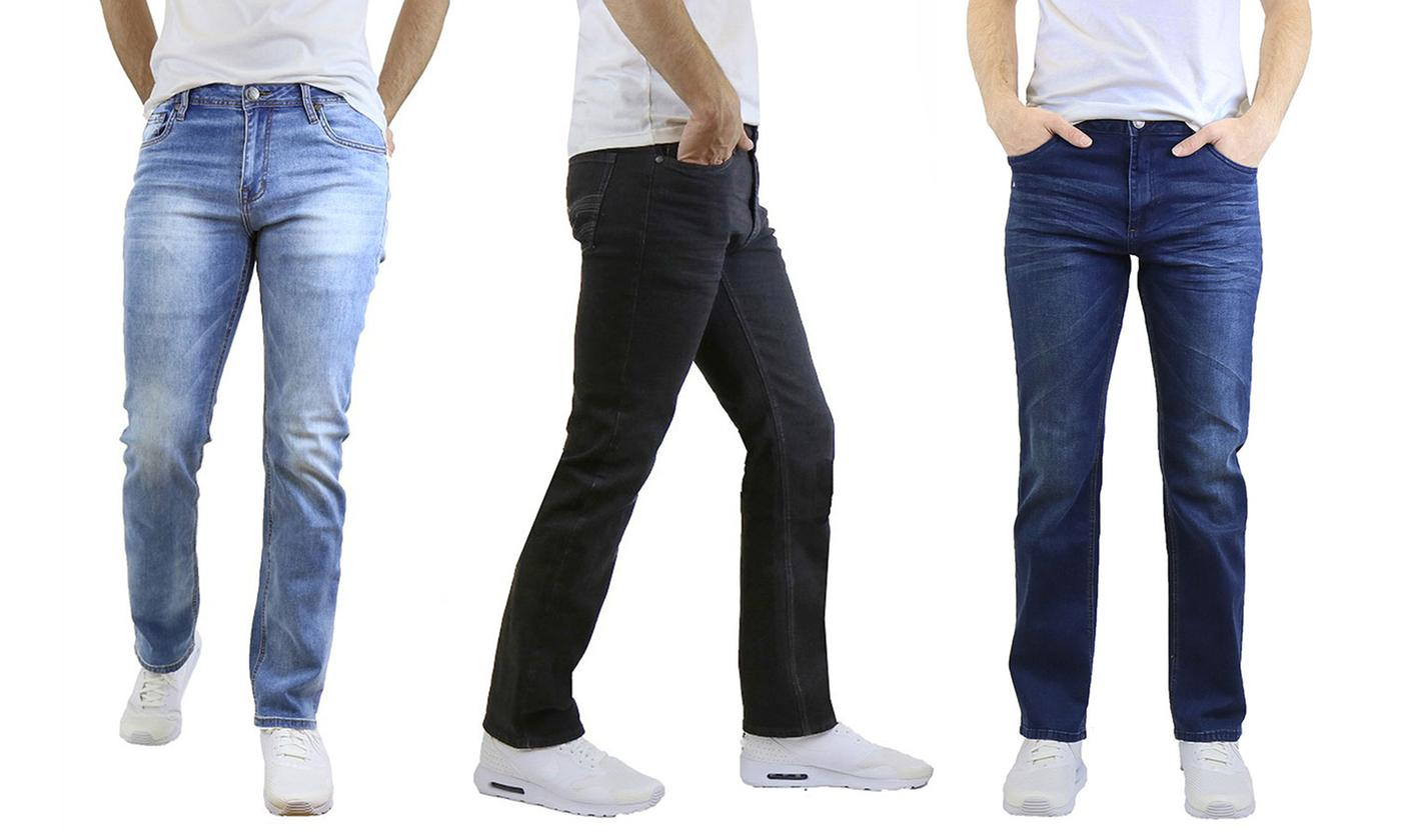 Men's Washed Straight Leg Stretch Jeans (30-40)