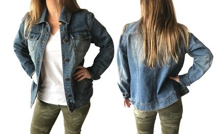 Steve Madden Boyfriend Trucker Women's Denim Jacket. Plus Sizes Available.