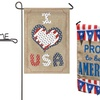 Patriotic Burlap Garden Flags and Flag Poles