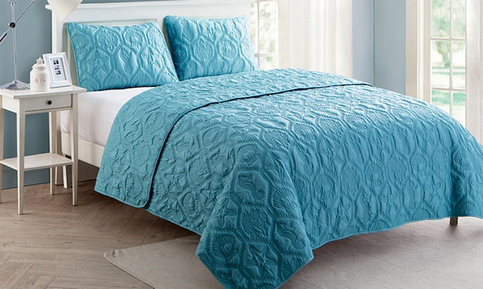 Save 69% on Embossed Quilt Sets - Multiple Colors Available (2- or 3-Piece)