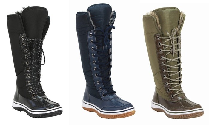 Mata Women's Fur Lace-Up Waterproof Winter Boots | Groupon