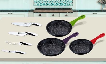 Set de 3 sartenes y 4 cuchillos Bergner
