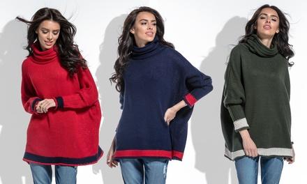 Maglione collo alto oversize donna