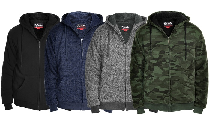 Men/'s Classic Thermal Hoodie Sherpa Lining Zipper w// Pockets Size M-2XL New