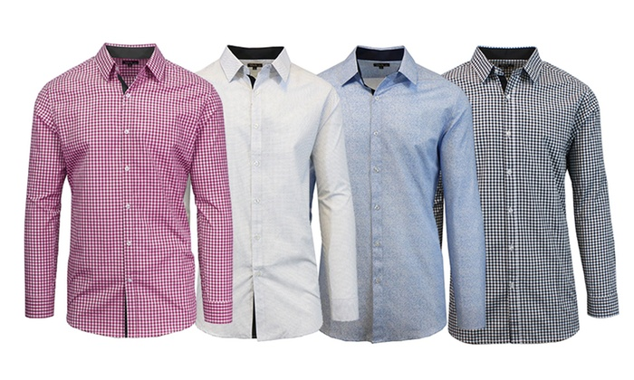 Long Sleeve Slim-Fit Button-Down Shirts (Extended Sizes Available)