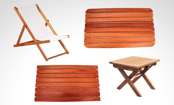 Alfombra o camino deck, mesa baja o reposera Iberá, 2 sillas o mesa de pino