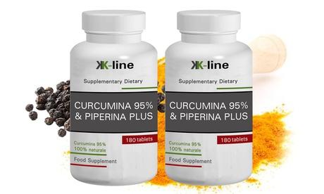 Hasta 720 cápsulas de curcumina 95% con piperina K-Line Food Suplements