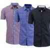 Men's Slim-Fit Short-Sleeve Button-Down Dress Shirt