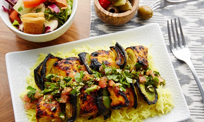 Basha Mediterranean Wood Grill - Columbia Heights: Mediterranean Food at Basha Mediterranean Wood Grill (Up to 47% Off). Three Options Available.