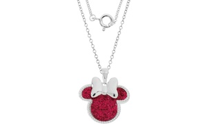 Disney Kids' Minnie Mouse Silver Plated Glitter Pendant Necklace